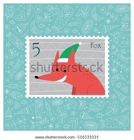 Christmas beautiful cheerful cute stamp with fox. vector illustration