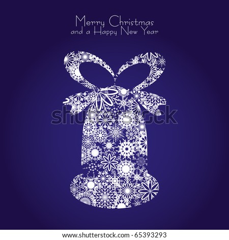 Christmas bell made from snowflakes on blue background, vector illustration - stock vector