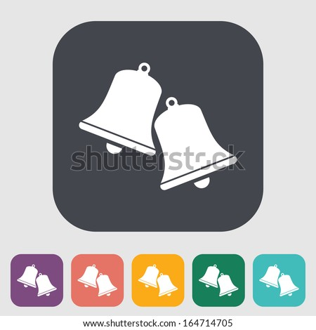 Christmas bell. Single flat icon on the button. Vector illustration. - stock vector