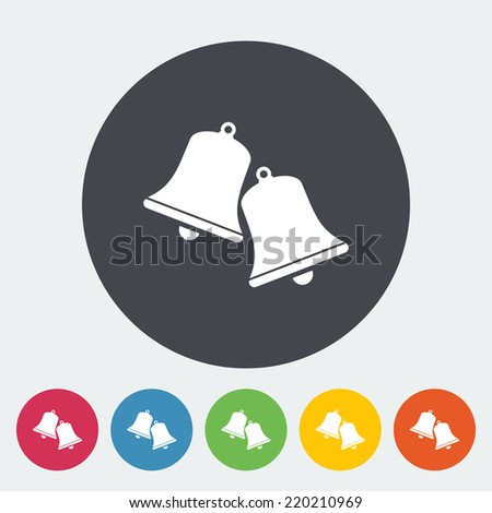 Christmas bell. Single flat icon on the circle. Vector illustration. - stock vector