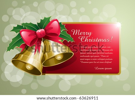 Christmas bells banner vector illustration. Elements are layered separately. - stock vector