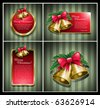 Christmas bells banner vector illustration set. - stock vector