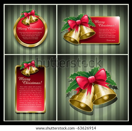 Christmas bells banner vector illustration set. - stock vector