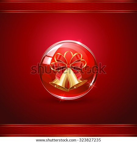 Christmas bells in sphere on red background, illustration. - stock vector