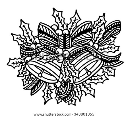 Christmas bells intricate hand drawn coloring page illustration. Black and white zentangle
