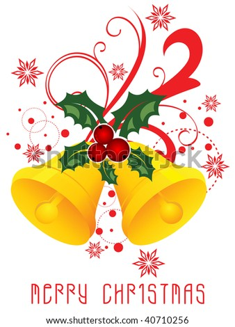 Christmas bells isolated on white background. Vector illustration - stock vector