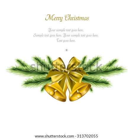 Christmas Bells. Vector Sparkly Background. - stock vector