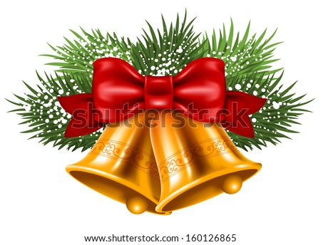 Christmas bells with red ribbon and fir branches - stock vector