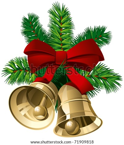 Christmas Bells with Red Ribbon and Pine Twigs. Vector Illustration - stock vector