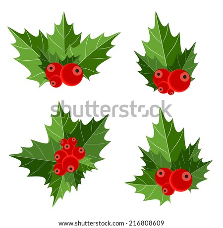 Christmas Berry Sign Vector Illustration  - stock vector