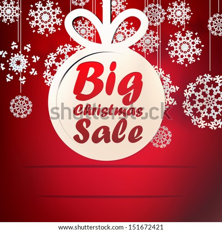 Christmas Big Sale template with copy space. EPS 10 - stock vector