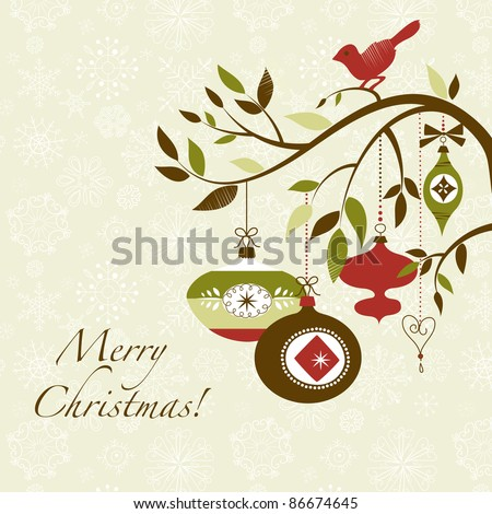 Christmas bird on a decorated branch - stock vector