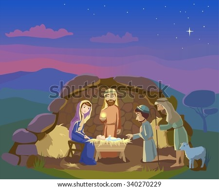 Christmas. Birth of Jesus Christ in  Bethlehem. Shepherds came to worship th King.  Vector - stock vector
