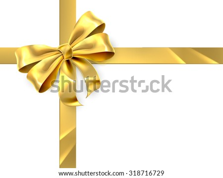 Christmas, birthday or other gift gold golden ribbon and bow wrapping background