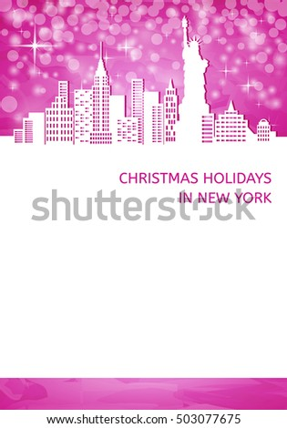 Christmas blank with silhouette of New York  and statue of liberty on pink background, white place for your text, cut paper vector illustration