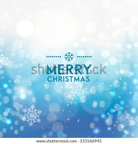 Christmas blue background with snowflakes - stock vector