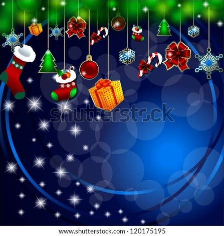 Christmas blue background with space for text and gifts