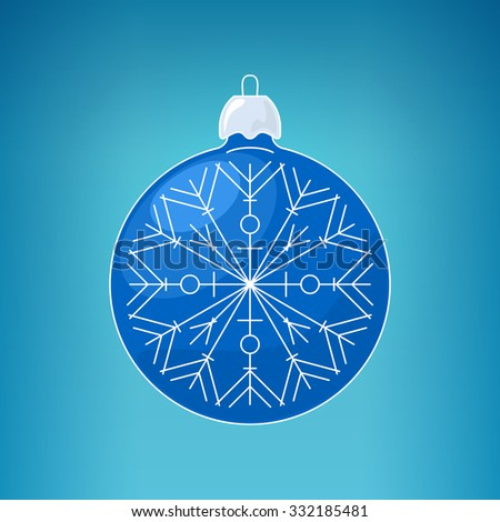 Christmas Blue Ball with Snowflake , Christmas Ball  on a Blue Background , Christmas Tree Decoration, Merry Christmas and Happy New Year,  Vector Illustration - stock vector