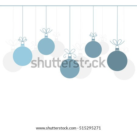 Christmas blue baubles ornaments background. Vector card