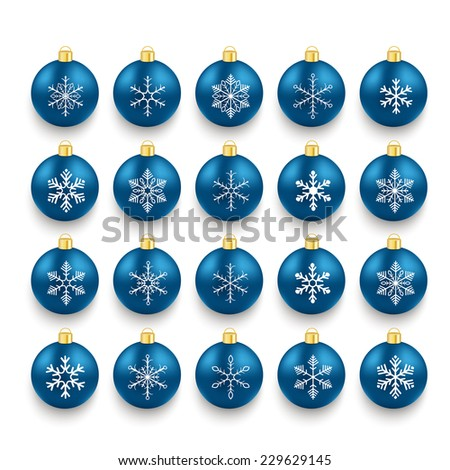 Christmas blue baubles set with snowflakes on the white background. Eps 10 vector file. - stock vector