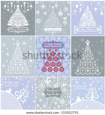 Christmas blue pastel greeting cards - stock vector