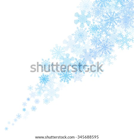 Christmas blue snowflakes blizzard stream in the light - stock vector