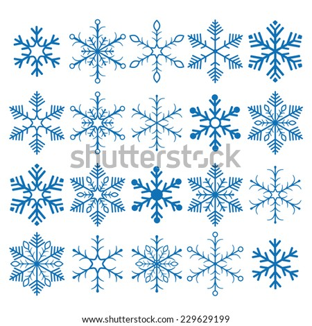 Christmas blue snowflakes on the white background. Eps 10 vector file.