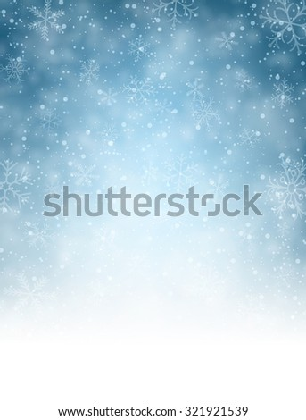 Christmas blurred background with snowflakes. Vector Illustration. - stock vector
