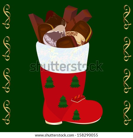 Christmas boots with set of candies and cookies - stock vector