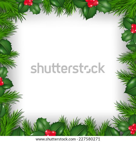 Christmas Border From Holly Berry With Gradient Mesh, Vector Illustration - stock vector