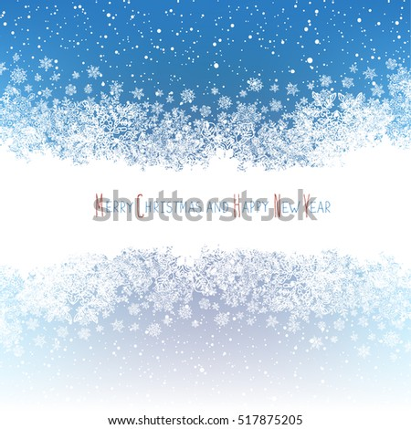 Christmas Border silhouette. Isolated center area for greeting.