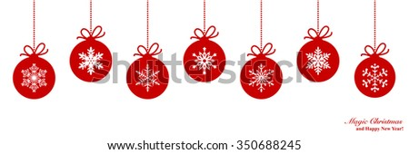 Christmas border with ball with snowflakes - stock vector