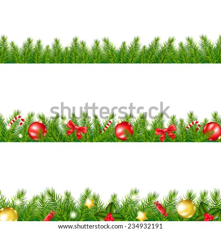 Christmas Border With Fir Tree With Gradient Mesh, Vector Illustration - stock vector