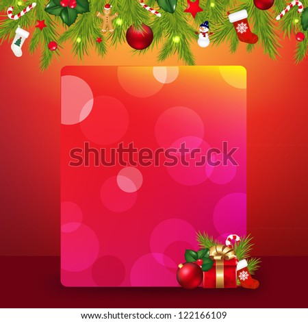 Christmas Border With Garland And Banner With Gradient Mesh, Vector Illustration - stock vector
