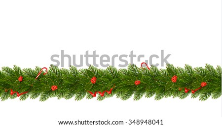 Christmas Border with tree branches. Horizontal banner vector - stock vector