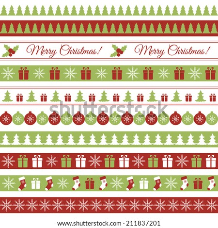 Christmas borders - stock vector