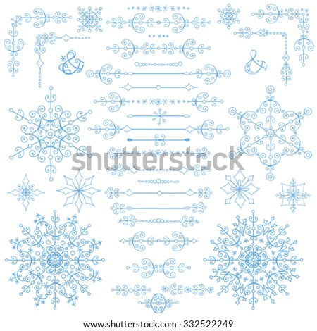 Christmas borders,decoration,text divider .New year season,winter isolated decorative elements.Cyan Vector,winter illustration.Holiday decoration,ornate swirling object,snowflake.Valentine,wedding day - stock vector