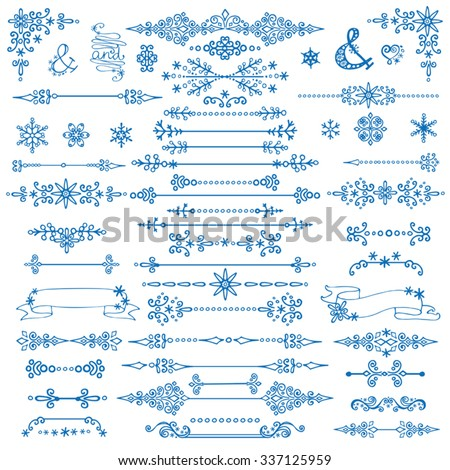 Christmas borders,decorative text divider .New year season,winter isolated decor elements.Vintage Vector,winter illustration.Holiday decoration,ornate swirling object ,snowflakes.Valentine,wedding  - stock vector