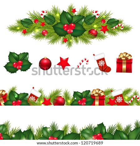 Christmas Borders Set With Xmas Garland, Isolated On White Background With Gradient Mesh, Vector Illustration - stock vector