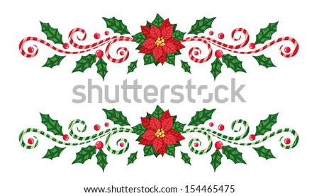 Christmas borders with candy cane and poinsettia - stock vector