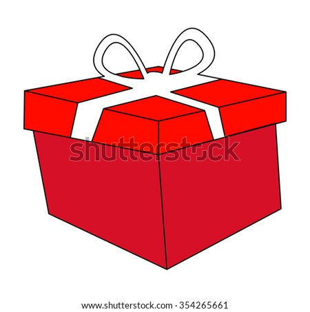 christmas box, gift icon, symbol, design. vector illustration isolated on white background.
