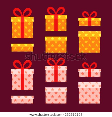 Christmas Boxes for presents with stars. Gold and white gifts. Flat design. - stock vector