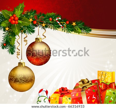 Christmas boxes under a branch of fir-tree - stock vector
