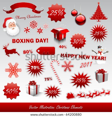 Christmas boxing day icons collection - stock vector
