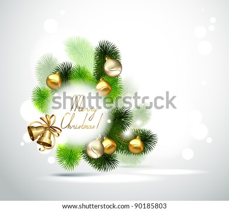 Christmas branch of fir tree with gold and silver evening balls on the white background - stock vector