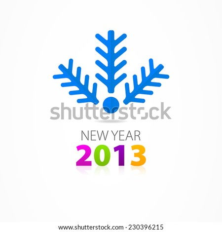 Christmas branches of spruce icon 2013 - stock vector