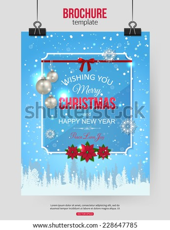 Christmas brochure template. Abstract typographical flyer design with winter landscape, poinsettia, silver bolls, red bow, blurred bokeh lights and place for text. Vector illustration. - stock vector