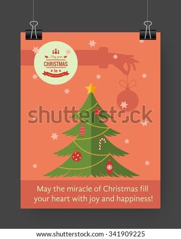 Christmas brochure template. Flat flyer design Xmas fir tree, Christmas logo. Vector illustration. - stock vector