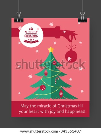 Christmas Brochure Template Flat Flyer Design Stock Vector Hd