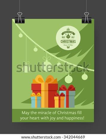 Christmas brochure template. Flat flyer design Xmas fir tree, presents, Christmas logo. Vector illustration. - stock vector